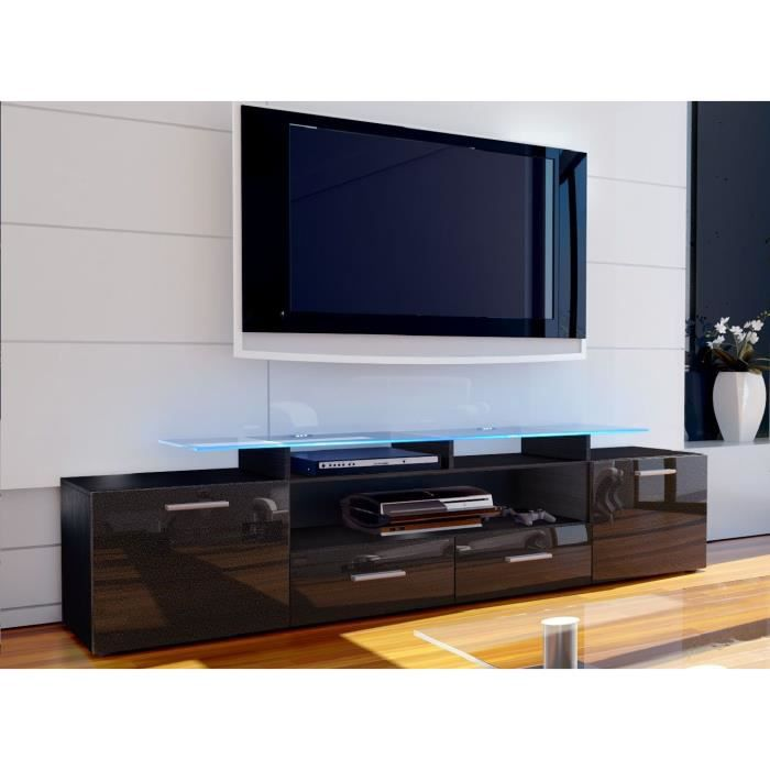 meuble tv noir et noir m tallique 194 cm achat vente. Black Bedroom Furniture Sets. Home Design Ideas