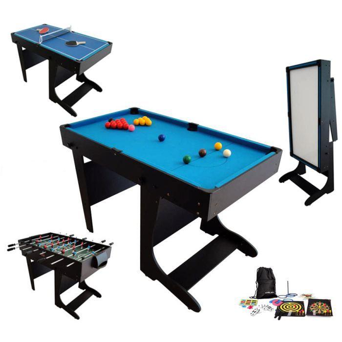 billard table multi jeux 21 en 1 noir pliable achat. Black Bedroom Furniture Sets. Home Design Ideas