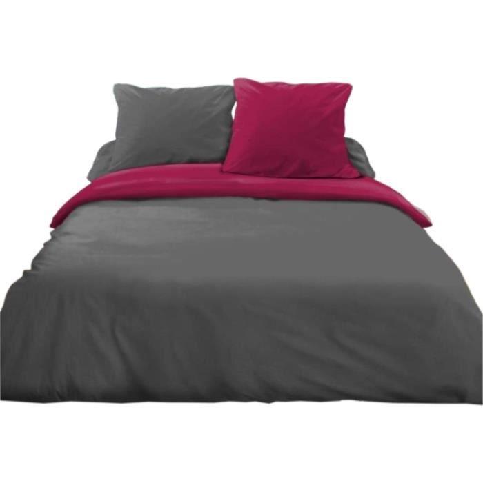 parure de lit 3 pi ces gris fonc fuschia achat vente parure de drap cdiscount. Black Bedroom Furniture Sets. Home Design Ideas