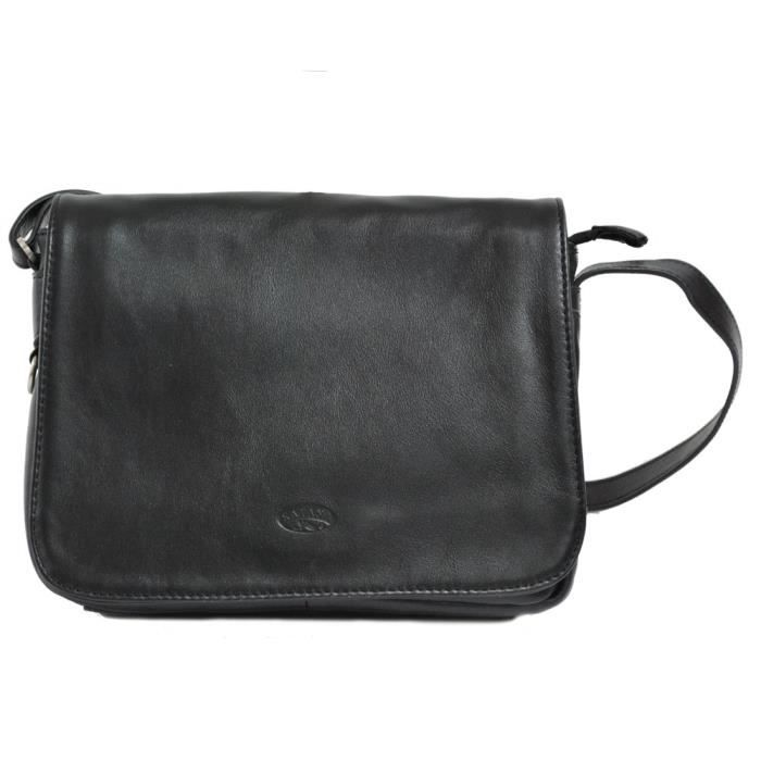 Petit Sac à Main Cuir Noir Bandoulière : Petit sac ? main besace en cuir noir femme katana achat