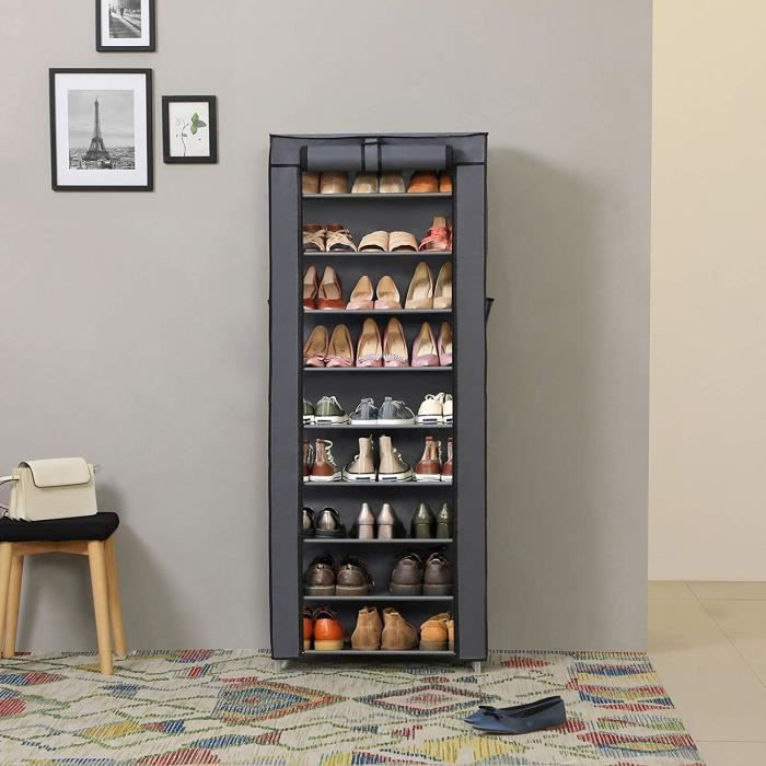 Songmics armoire tag res chaussures 10 couches avec - Armoire a chaussures pas cher ...