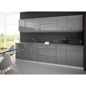 Meuble cuisine gris laque achat vente meuble cuisine for Plan de travail cuisine gris