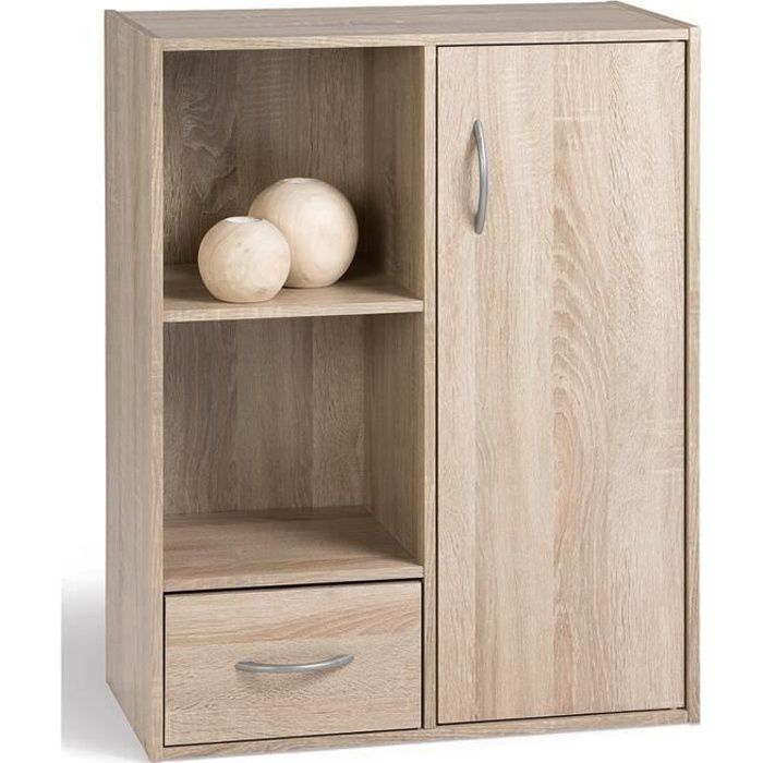 Compo meuble de rangement coloris ch ne l 62 cm achat for Petit meuble avec porte