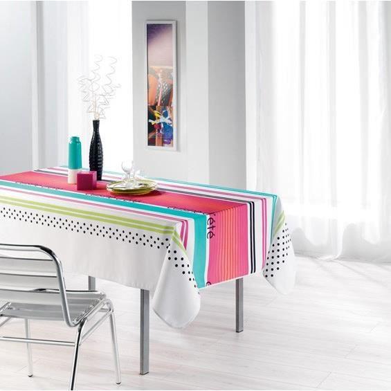 Nappe anti tache 150x240 rayures cuisine t blanc achat - Nappe de cuisine rectangulaire ...