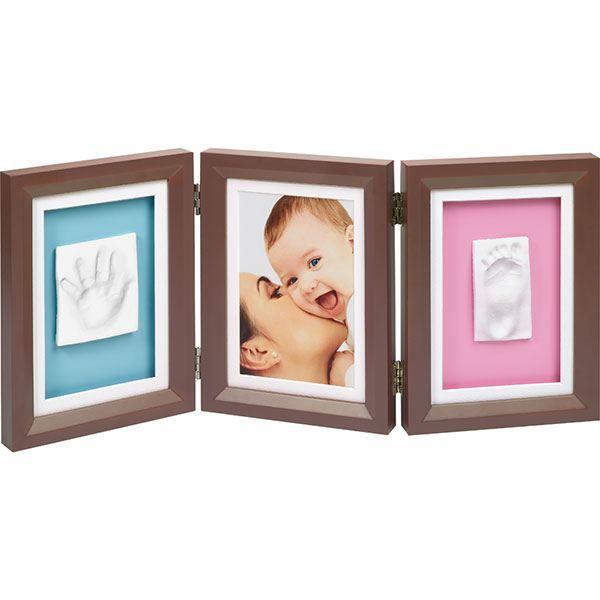 cadre photo 3 volets avec 2 empreintes brown achat vente cadre photo cdiscount. Black Bedroom Furniture Sets. Home Design Ideas