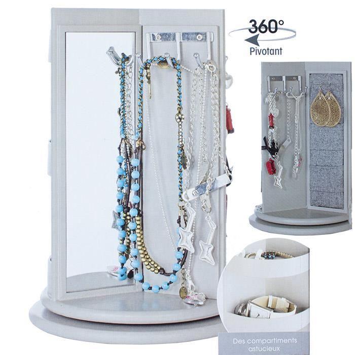 Porte bijoux rotatif 3 espaces miroir porte achat vente boite a bijoux - Miroir avec porte bijoux ...