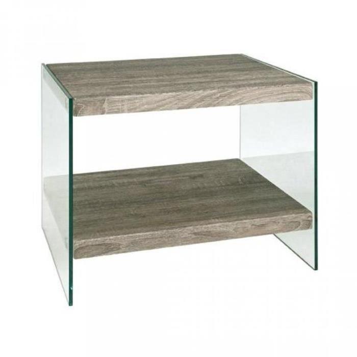 Table basse nina en verre et ch ne gris achat vente - Table basse chene gris ...