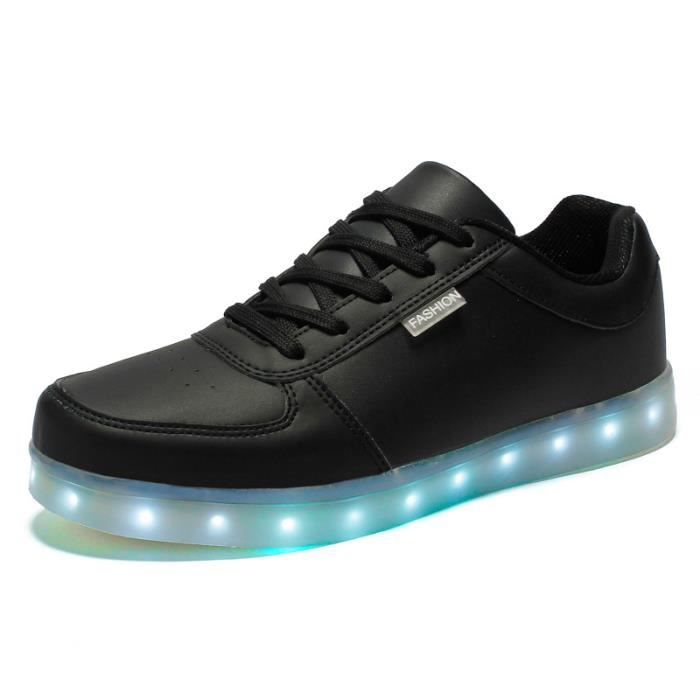 dansebriller chaussure led noir usb charge chaussure lumineuse multicolore led lumi re lumineux. Black Bedroom Furniture Sets. Home Design Ideas