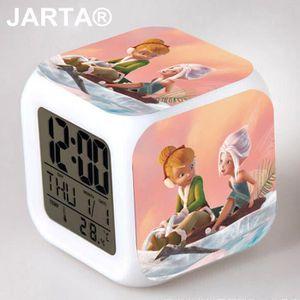 RÉVEIL SANS RADIO Fée Clochette 7 Couleur Digital Alarm Clocks cube