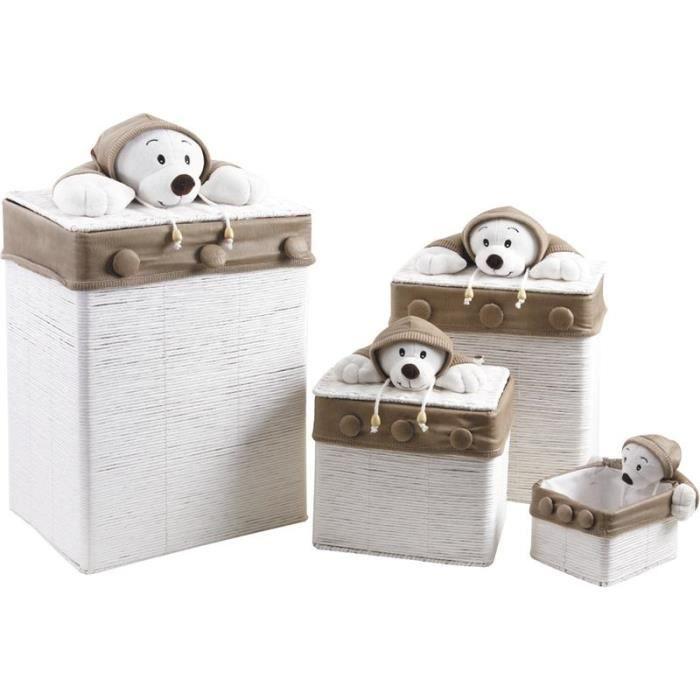 lot de 3 coffres jouets ours 1 corbeille achat vente boite de rangement coton cdiscount. Black Bedroom Furniture Sets. Home Design Ideas