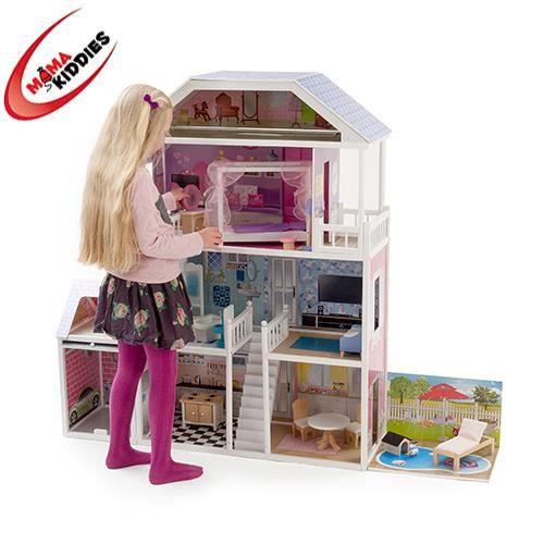 Maison de poup e en bois 17 meubles achat for Ameublement maison