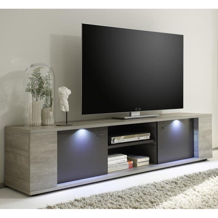 Meuble tv lumineux couleur ch ne gris et gris contemporain aquila 2 portes 2 niches taille - Meuble tv couleur ...