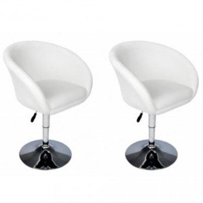 lot de 2 fauteuils blancs salon pivotant lounge achat vente fauteuil cdiscount. Black Bedroom Furniture Sets. Home Design Ideas