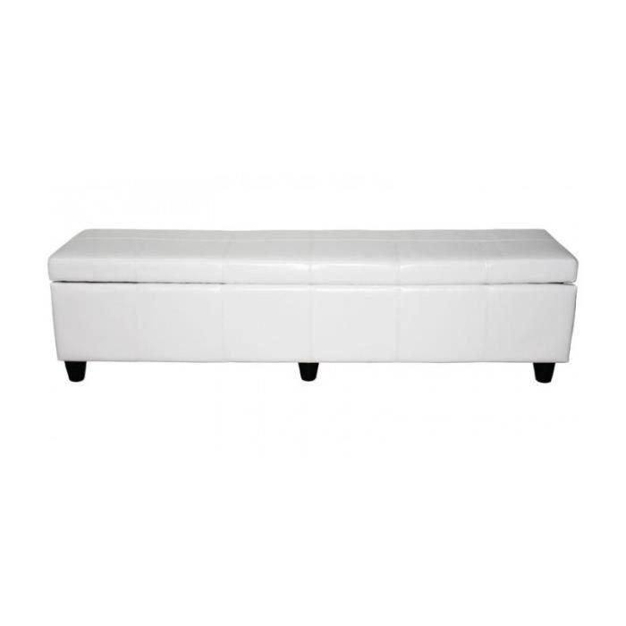 Banquette coffre de rangement banc similicuir blanc 180x45x45cm ban04008 ac - Banquette coffre blanc ...