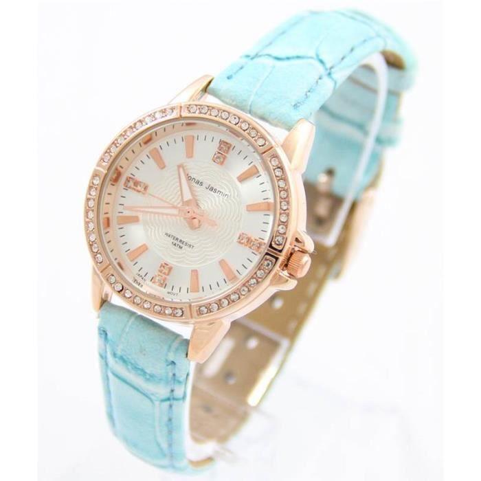 jolie montre pour femme bracelet cuir bleu jasmin 335 achat vente montre cdiscount. Black Bedroom Furniture Sets. Home Design Ideas