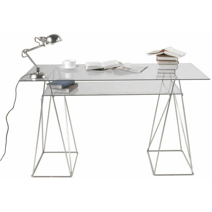 Table De Bureau Design 120cm 2plateaux En Verre Achat