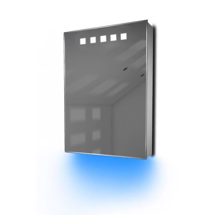 armoire de toilette avec capteur et prise rasoir int rieure k259b gris taille h 700mm x w. Black Bedroom Furniture Sets. Home Design Ideas