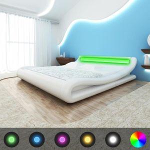 LIT COMPLET Lit avec tête de lit LED 180 cm Blanc