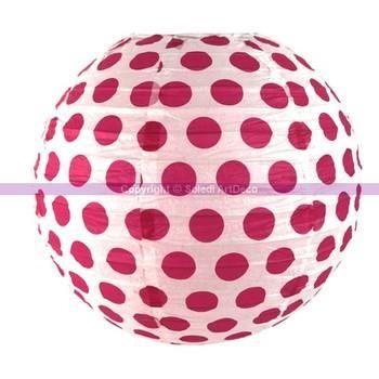 lanterne japonaise boule 35 cm en papier boule chinoise blanche pois fuchsia unique achat. Black Bedroom Furniture Sets. Home Design Ideas