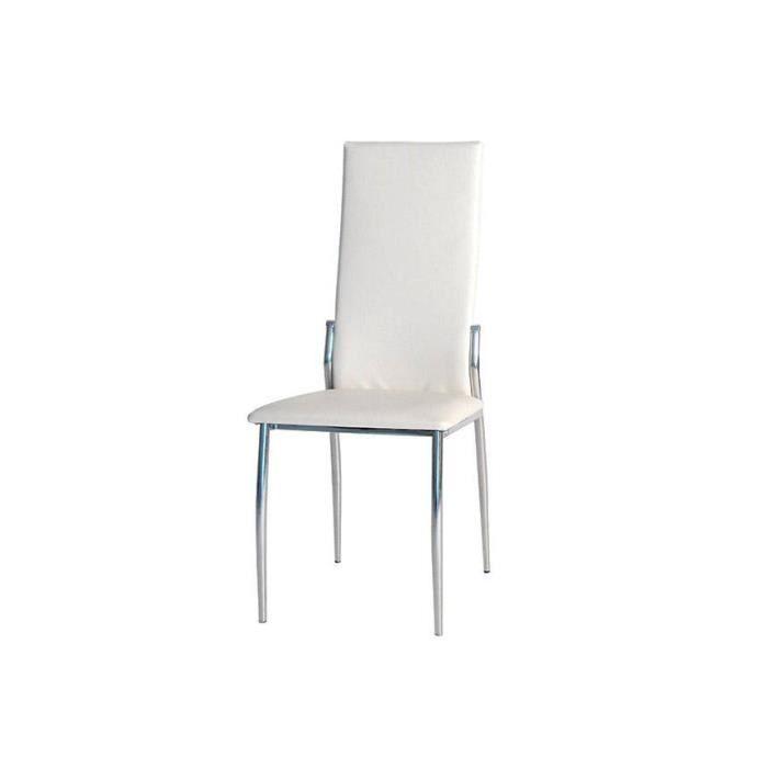 4 chaises blanches modernes quadri pu achat vente for Chaises blanches modernes