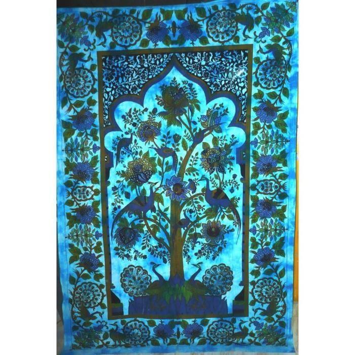tenture arbre de vie 100 coton 140 x 210 cm bleu achat vente affiche 100 coton cdiscount