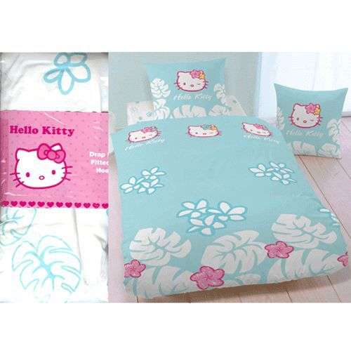 Drap housse hello kitty tropical 2 places achat vente - Drap housse 70x140 hello kitty ...