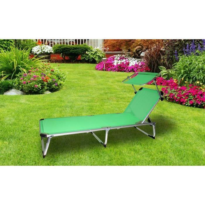 Transat pliable vert avec pare soleil achat vente for Chaise longue jardin avec pare soleil