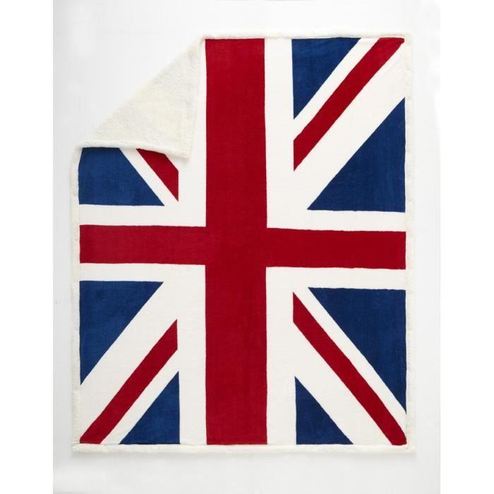 Plaid imprim drapeau anglais 150x200 cm 100 polyester 1 face microfib - Linge de maison en anglais ...