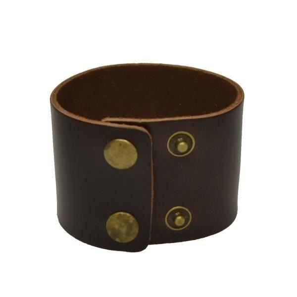 bracelet manchette en cuir marron pour homme achat. Black Bedroom Furniture Sets. Home Design Ideas