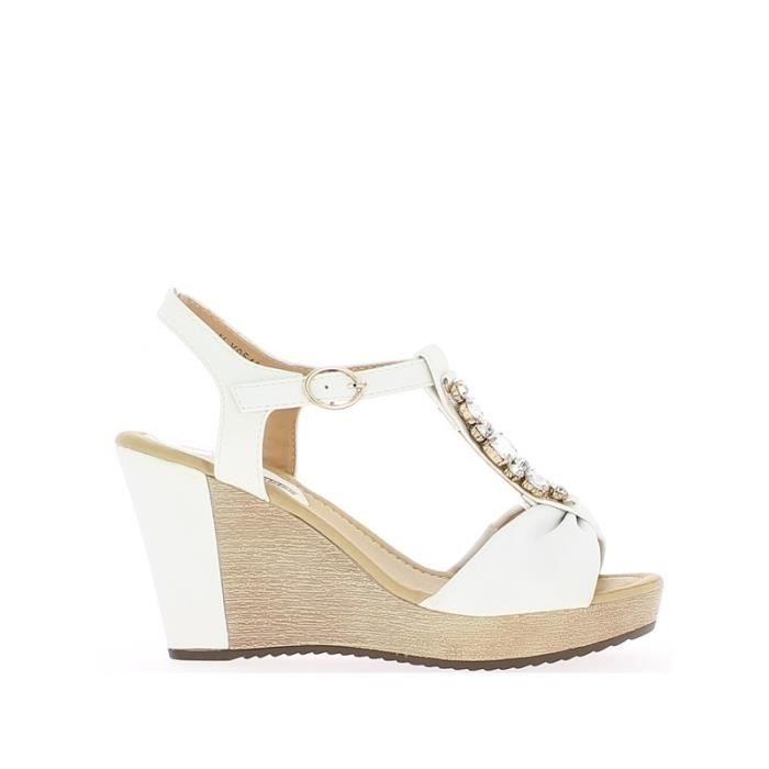 sandales compens es blanches t blanc achat vente sandale nu pieds cdiscount. Black Bedroom Furniture Sets. Home Design Ideas