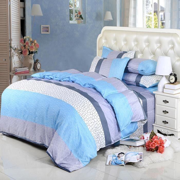 4 pi ces de literie 1 8m ou 1 5m lit housse de couette drap une taie d 39 oreiller confortable et. Black Bedroom Furniture Sets. Home Design Ideas