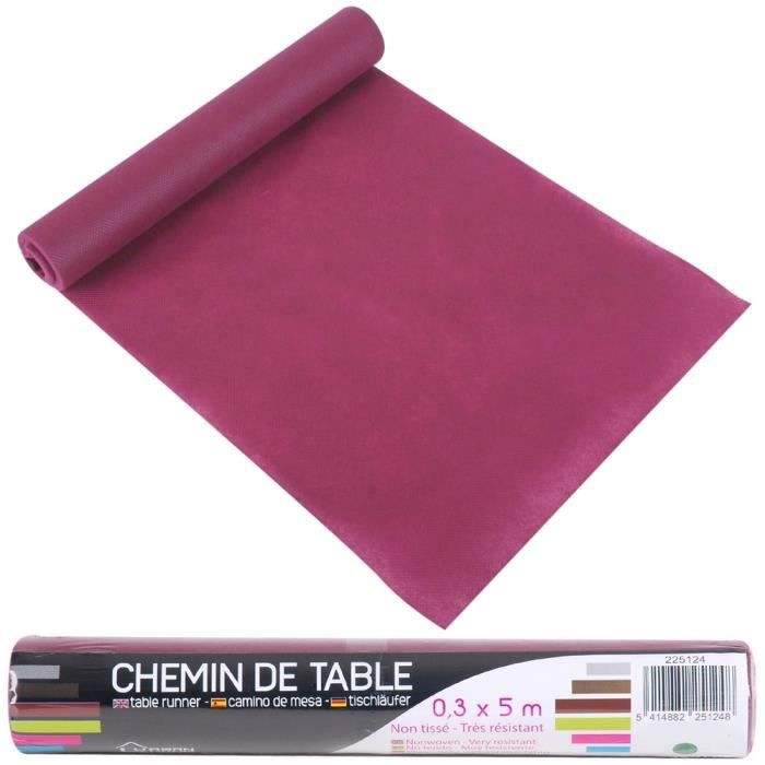 Chemin de table non tiss coloris prune id al d coration for Chemin de table conforama