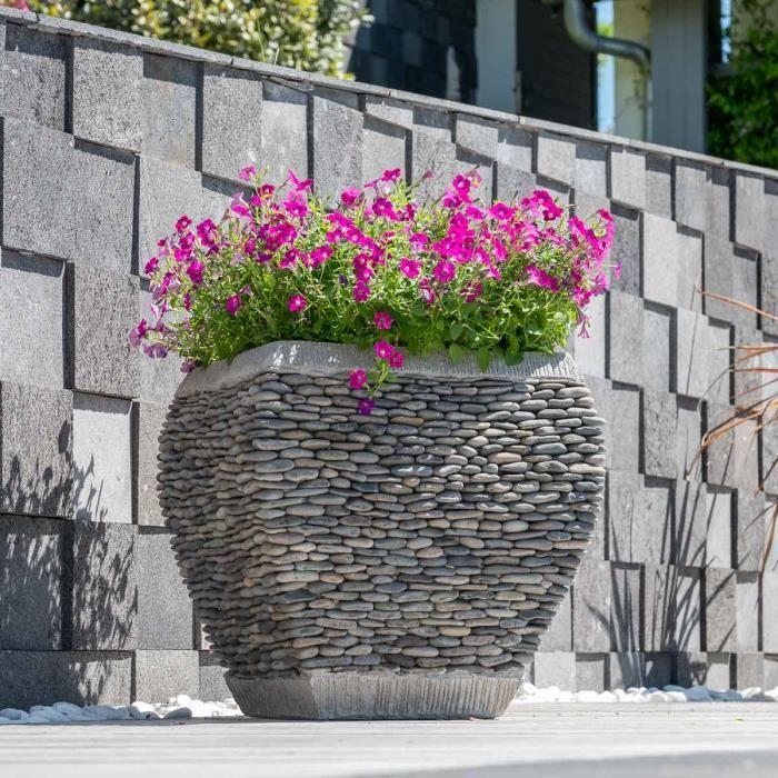 Pot bac jardini re galb galet hauteur 50cm jar achat for Jardiniere hauteur 1 metre