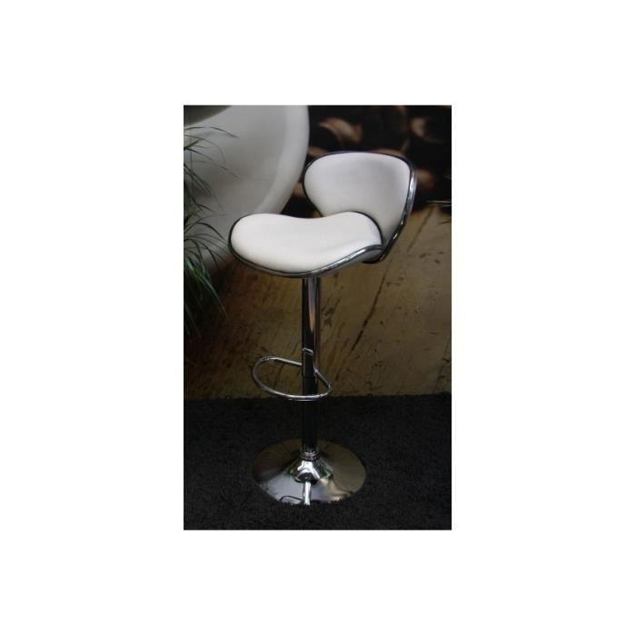 Tabouret de bar chrome simili cuir blanc achat vente tabouret de bar cadeaux de no l cdiscount - Tabouret de bar simili cuir ...