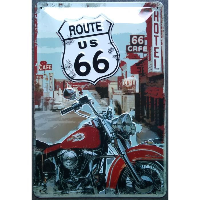 Plaque metal route 66 moto harley davidson usa bar achat for Decoration murale route 66