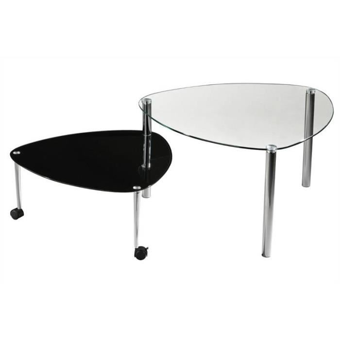 Table d 39 appoint r glable treviso verre noire pieds chrom s for Table d appoint noire