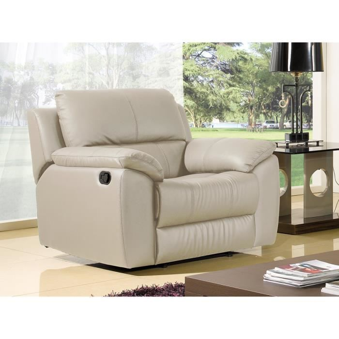 Fauteuil relaxation cuir sup rieur beige luxe giorgina achat vente fauteu - Fauteuil relax beige ...