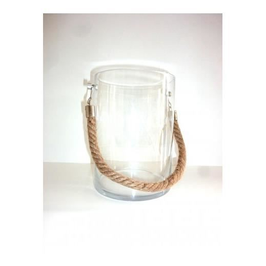 Photophore avec corde bord de mer achat vente photophore lanterne verre - Lanterne pour terrasse ...