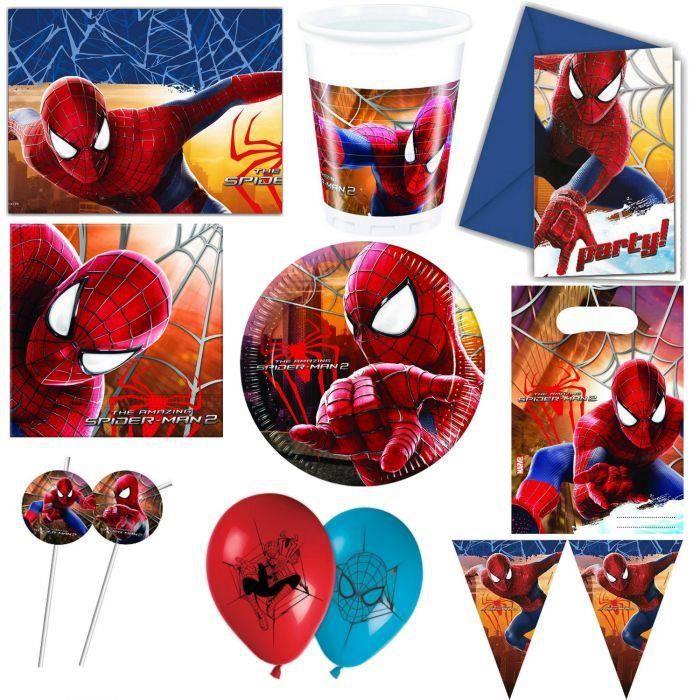 Kit d coration anniversaire spiderman pour 6 achat vente kit de decoration cdiscount - Deco anniversaire spiderman ...
