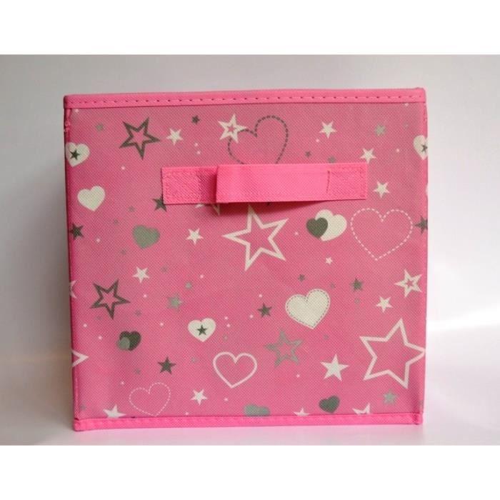 Panier cube de rangement pliable rose avec toiles achat vente boite de rangement cdiscount - Cube rangement tissu ...