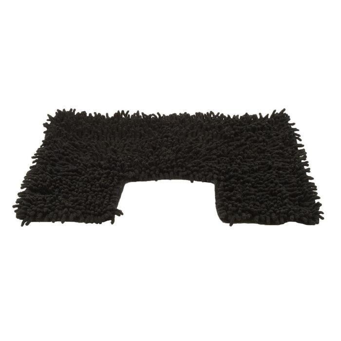 tapis contour wc chenille noir achat vente tapis de bain cdiscount. Black Bedroom Furniture Sets. Home Design Ideas