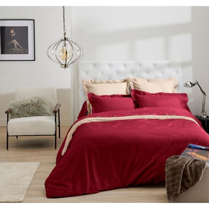lot de 2 taies d 39 oreiller uni rouge satin de coton 50x70 achat vente taie d 39 oreiller cdiscount. Black Bedroom Furniture Sets. Home Design Ideas