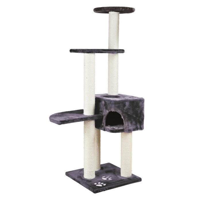 trixie alicante arbre chat hauteur 142 cm gris anthracite peluche et sisal naturel achat. Black Bedroom Furniture Sets. Home Design Ideas