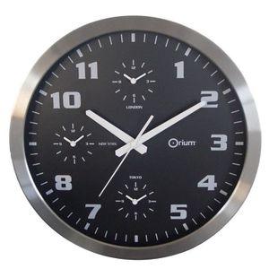 HORLOGE Horloge murale Ø40cm 4 temps à piles grise