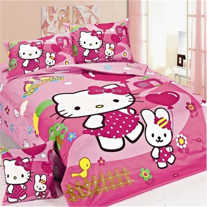lm parure de lit enfant hello kitty 100 coton achat. Black Bedroom Furniture Sets. Home Design Ideas