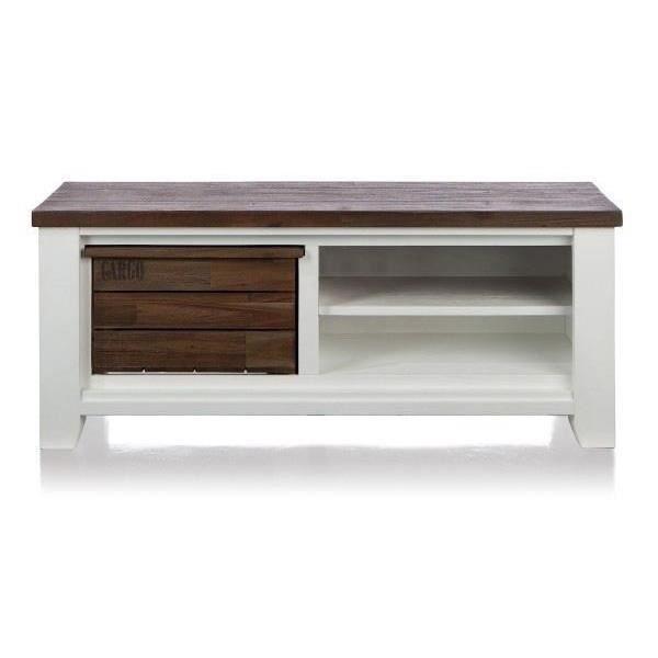 Meuble tv 130 x 45 cm acacia massif velasco h h achat for H h createur de meubles