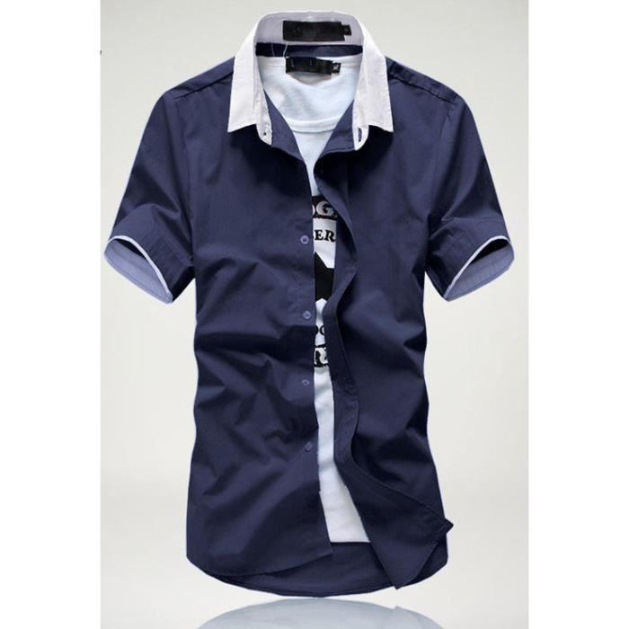 chemise manches courtes homme bleu marine blanc achat vente chemisier blouse soldes d. Black Bedroom Furniture Sets. Home Design Ideas