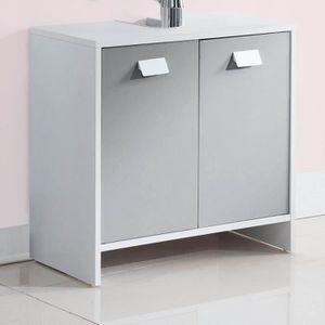 MEUBLE VASQUE - PLAN TOP Meuble sous-vasque L 60 cm - Blanc et gris