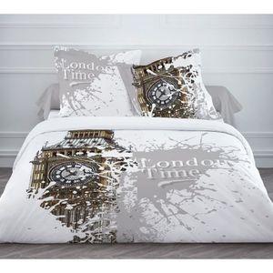 TODAY Parure de couette LONDON TIME 100% coton - 1 housse de couette 220x240 cm + 2 taies d'oreillers 63x63 cm - Blanc