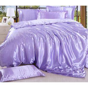 parure de lit violet achat vente parure de lit violet pas cher cdiscount. Black Bedroom Furniture Sets. Home Design Ideas